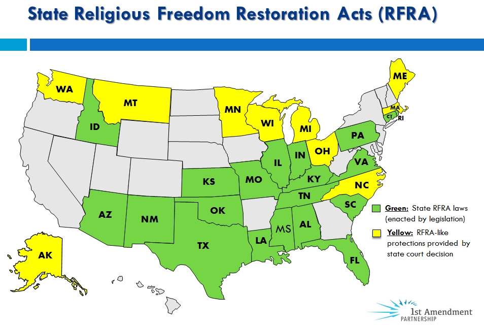 Faith in the public square 1st amendment partnership state rfra map in publicscrutiny Images